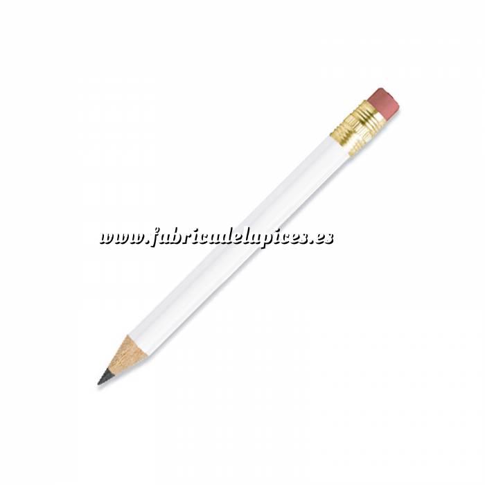 Imagen Redondo mini goma Lápiz pequeño redondo de madera color blanco con goma