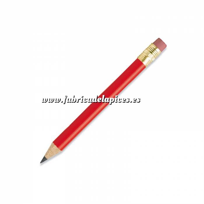 Imagen Redondo mini goma Lápiz pequeño redondo de madera color rojo con goma