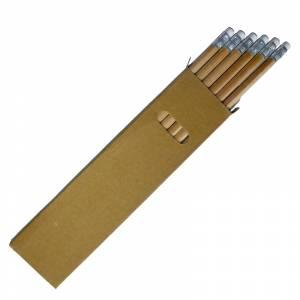 Cajas cartón - Caja 6 lápices redondos en madera con goma