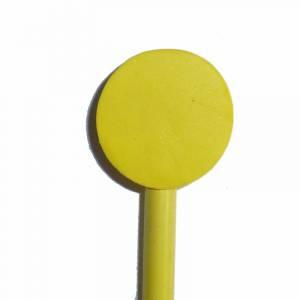Redondo decorado - Lápiz redondo de madera con decoración círculo amarillo