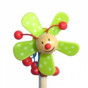 Redondo decorado - Lápiz redondo de madera con decoración hélice verde