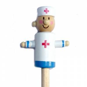 Redondo decorado - Lápiz redondo de madera con decoración médico