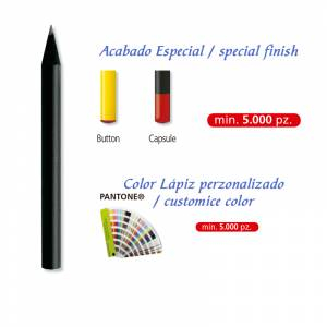 Redondo mini - Lápiz pequeño redondo de madera color negro