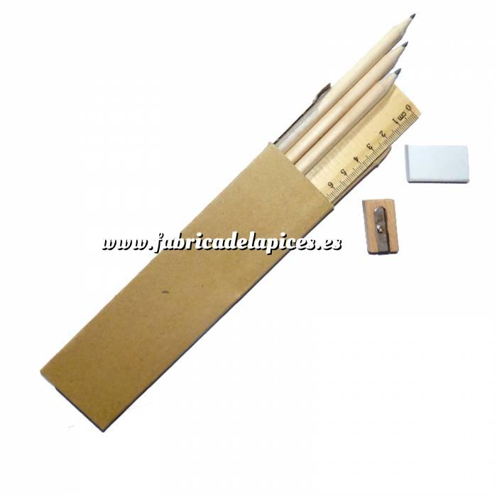 Imagen Cajas cartón Caja 3 lápices de madera, regla, goma y sacapuntas