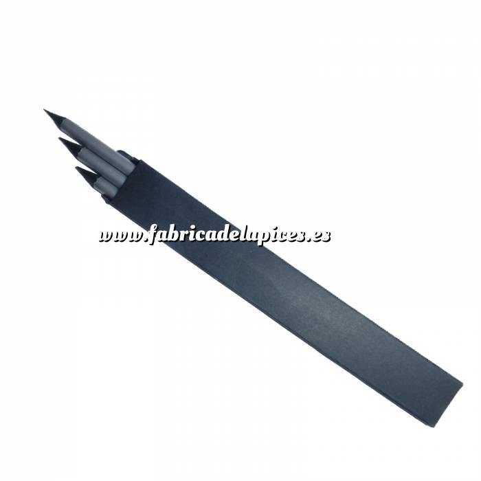 Imagen Cajas cartón Caja 3 lápices de madera negra con goma