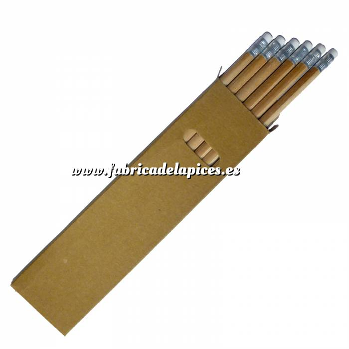 Imagen Cajas cartón Caja 6 lápices redondos en madera con goma