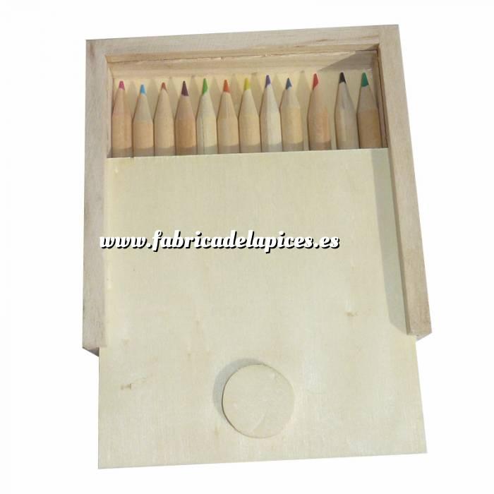 Imagen Cajas madera Caja madera 12 lápices pequeños de colores en madera