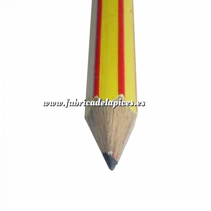 Imagen Hexagonal rayas con goma Lápiz hexagonal a rayas de madera amarillo con goma