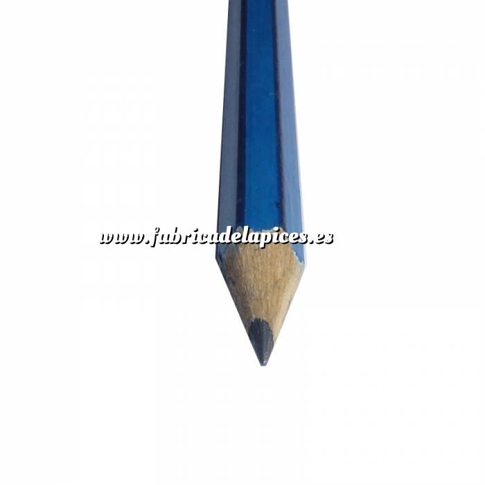 Imagen Hexagonal rayas con goma Lápiz hexagonal a rayas de madera azul con goma