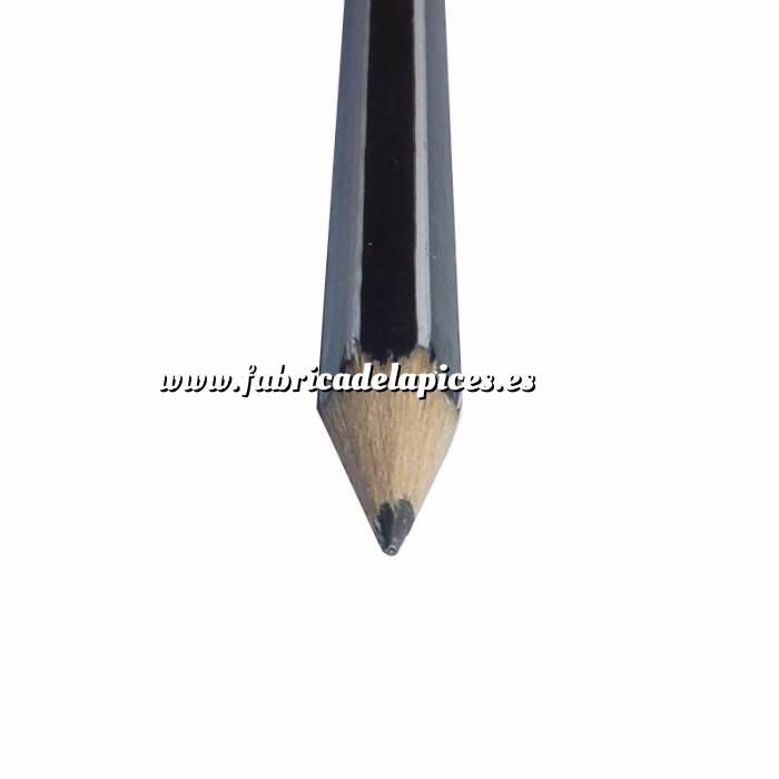 Imagen Hexagonal rayas con goma Lápiz hexagonal a rayas de madera negro con goma