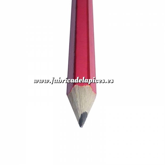 Imagen Hexagonal rayas con goma Lápiz hexagonal a rayas de madera rojo con goma