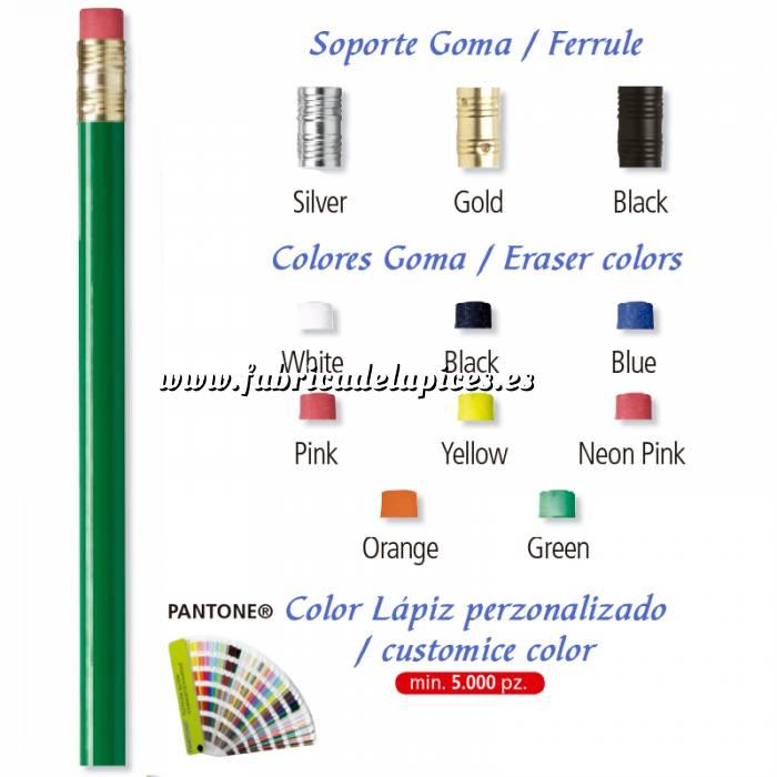 Imagen Redondo cedro con Goma Lápiz redondo de madera verde con goma