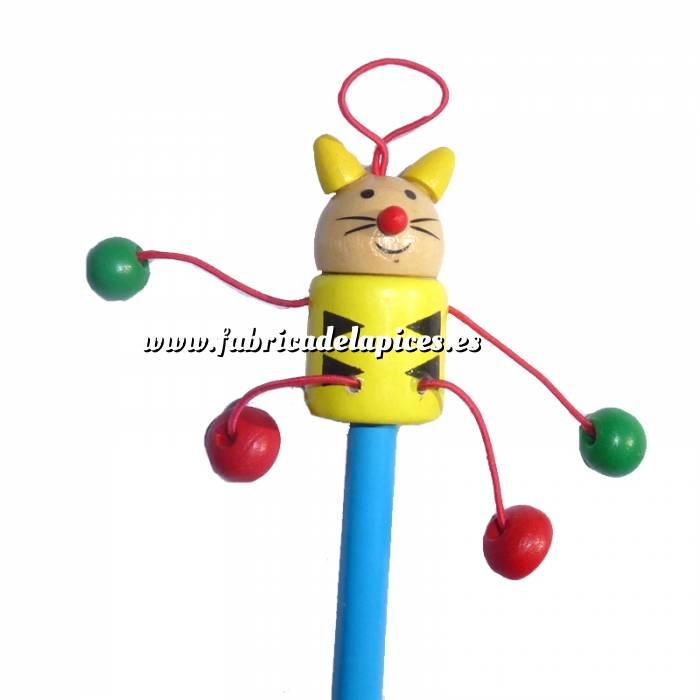 Imagen Redondo decorado Lápiz redondo de madera con decoración gato