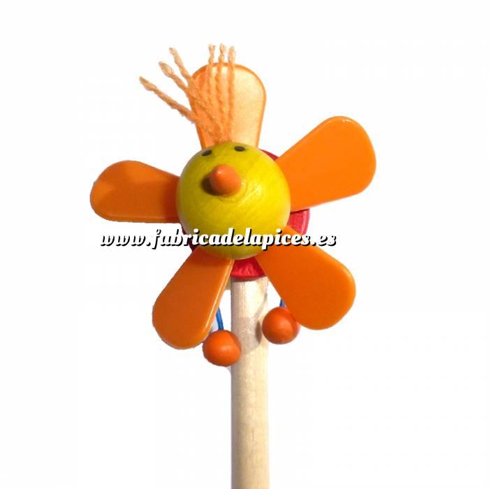 Imagen Redondo decorado Lápiz redondo de madera con decoración hélice naranja