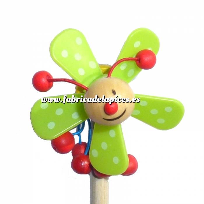 Imagen Redondo decorado Lápiz redondo de madera con decoración hélice verde