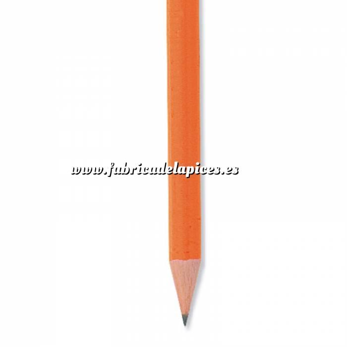 Imagen Redondo fluorescente goma Lápiz redondo de madera fluorescente naranja con goma
