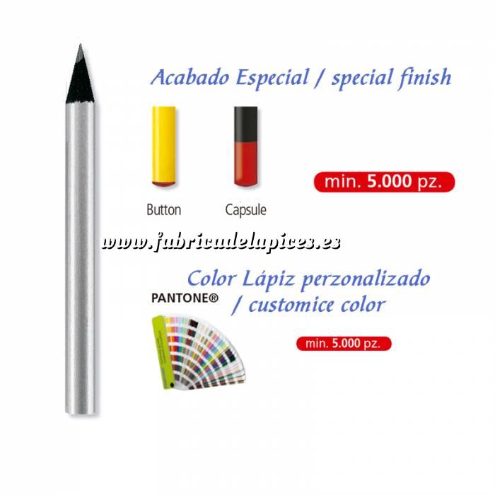 Imagen Redondo mini Lápiz pequeño redondo de madera color plata