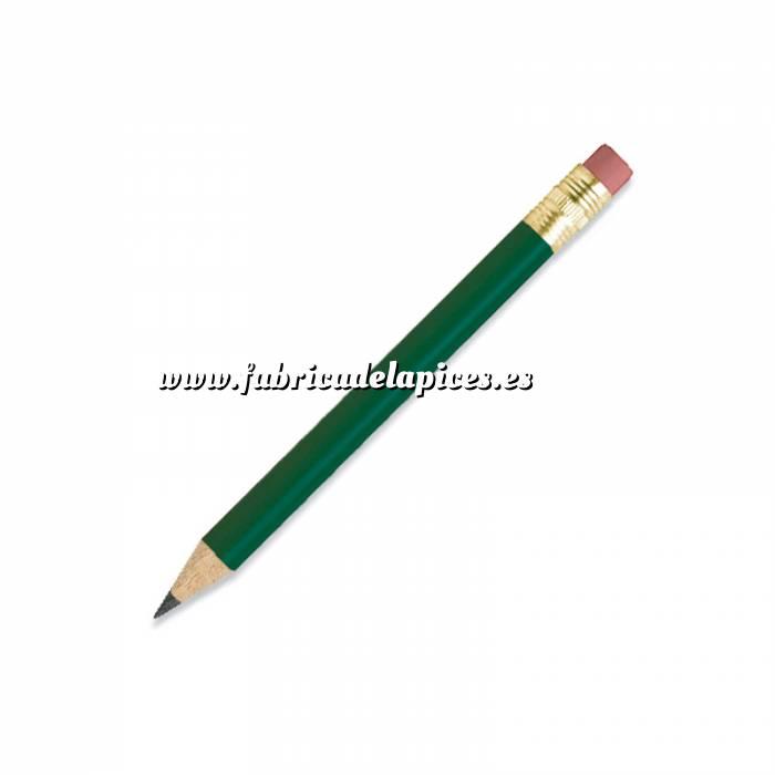 Imagen Redondo mini goma Lápiz pequeño redondo de madera color verde con goma