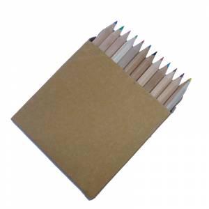 Cajas cartón - Caja 12 lápices pequeños de colores en madera