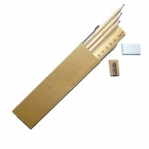 Cajas cartón - Caja 3 lápices de madera, regla, goma y sacapuntas