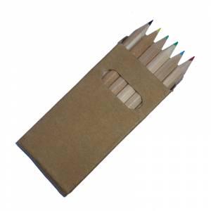 Cajas cartón - Caja 6 lápices pequeños de colores en madera