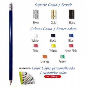 Imagen Redondo cedro con Goma Lápiz redondo de madera azul con goma