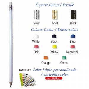 Imagen Redondo cedro con Goma Lápiz redondo de madera blanco con goma
