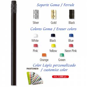 Redondo cedro con Goma - Lápiz redondo de madera negra color negro II con goma