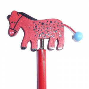 Redondo decorado - Lápiz redondo de madera con decoración caballo muelle