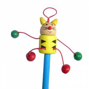 Redondo decorado - Lápiz redondo de madera con decoración gato
