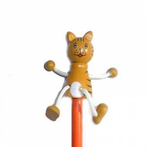 Redondo decorado - Lápiz redondo de madera con decoración gato 2