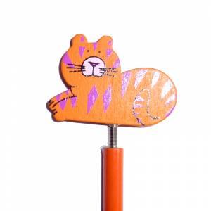 Redondo decorado - Lápiz redondo de madera con decoración gato muelle