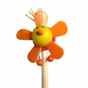 Redondo decorado - Lápiz redondo de madera con decoración hélice naranja