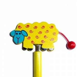 Redondo decorado - Lápiz redondo de madera con decoración oveja muelle