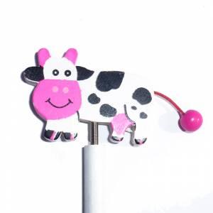 Redondo decorado - Lápiz redondo de madera con decoración vaca muelle