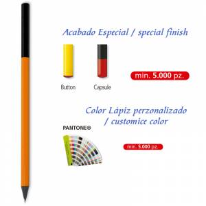 Redondo madera negra - Lápiz redondo de madera color personalizado
